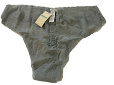 AERIE Grey Lace Thong Size Large Panties NWT