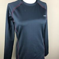 Reebok Women's Athletic Long Sleeve Top Size L Black, Red Stitching, Crew Neck
