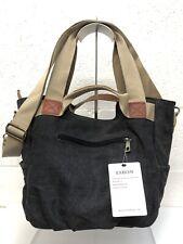Eshow NWT Charcoal Grey Canvas 3-Way Zip Top Shoulder Crossbody Bag