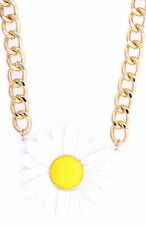 5cm large white enamel daisy solid chain necklace, 50s, 60s, 70s retro