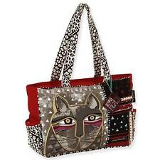 Laurel Burch Whiskered Cat Medium Canvas Shoulder Purse Tote Bag - Red and Gray