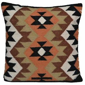 "Kilim Cushion Wool Cotton Jute Cover Handmade 20"" 50cm Moroccan Indian Persian"