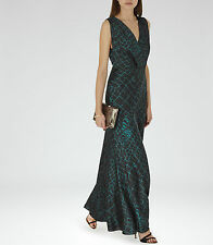 New REISS green printed maxi dress, model BEBE Size UK4  RRP £250