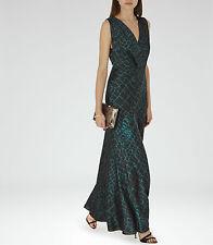 New REISS green printed maxi dress, model BEBE Size UK8  RRP £250