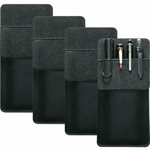 4 Packs Leather Pocket Handmade Protector Pen Holder Pouch for Lab Coats