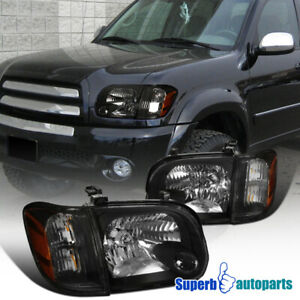 For 2005-2006 Toyota Tundra Sequoia Black Headlight Corner Lamps L+R