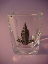 Licor Bebida Vaso de Chupito con Peltre Emblema ~ Big Ben Londres Inglaterra GB;