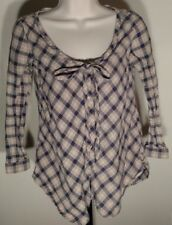 ByCorpus Womens Linen Button Front Blouse Size M 3/4 Sleeve Beige and Navy Plaid