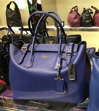 NWT AUTHENTIC PRADA Large Saffiano Leather Shopper Tote Shoulder Bag Royal Blue