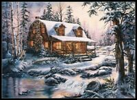 Cabin in Snow - Chart Counted Cross Stitch Pattern Needlework Xstitch Craft DIY