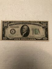 Series 1934 A Ten Dollar $10 Federal Reserve Note Lime Green Seal