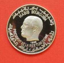 """Tunesien: 1 Dinar """"Habib Bourguiba - Aurelius Augustinus"""" 1969 - PP/Proof !!"""