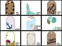 "Printed GIFT TAGS with Hole 2-1/4"" x 3-1/2"" Choose Design & Package Amount"
