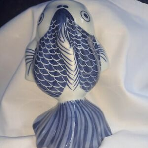 Knobler Ceramic Koi Fish Wall Pocket Made In Thailand