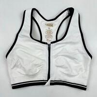 COPPER FIT Womens White Front Zip Sports Bra Sz M Nylon Spandex Racerback
