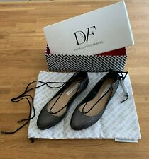 Diane Von Furstenberg Paris Lace-Up Classic Ballerina Flat Pewter Size 7 - NEW