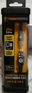 TOUGH TESTED - TOUGHTESTED 2FT ARMOR-FLEX LIGHTNING TO USB-C TM CABLE TTAMC2C2A