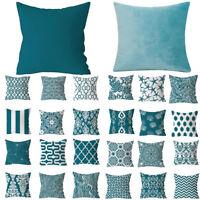 Nordic Style Pillowcase Blue Green Print Geometric Cushion Cover Sofa Home Decor