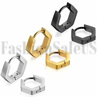 2pcs Men Women Unisex Fashion Stainless Steel Hexagon Charm Huggie Earrings Stud