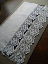 "Antique white Irish linen towel crochet lace to both ends. 23"" x 46"""