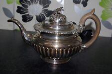 Antique Regency Sheffield Plate Teapot Flower Finial Silver Tea Pot