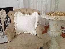 "Bella Notte White Amalie Ruffled Throw Pillow 18"" x 18"""