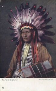 Native Americana Indian Chief Antique Postcard 1907s