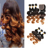 3Bundles With Closure Ombre T1b/4/30 Body Wave Brazilian Human Hair Extensions