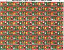1954 CHRISTMAS SEALS STAMPS Full Sheet 100 Stamps NTA Children Christmas Tree