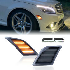 For 08-11 Benz W204 C300 C350 C63 AMG Smoke Lens Amber Led Side Marker Light 2PC