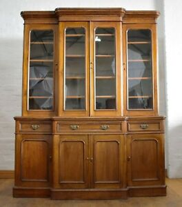 Antique Victorian large breakfront bookcase display cabinet / cupboard