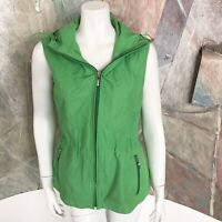 Talbots Green Hooded Womens Zip Up Vest Windbreaker Jacket Size Medium