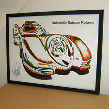Batmobile Batman Returns Tim Burton Car Racing Poster Print Wall Art 18x24