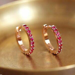 Solid 14k Rose Gold Genuine Ruby Gemstone Huggie Hoops Earrings Fine Jewelry