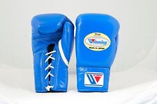 Winning Boxing Gloves (Blue) 10oz Lace Up Pro Type MS-300 Handcrafted In Japan