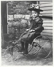 CUTE LITTLE GIRL IN SUNDAY BEST ON HER TRICYCLE ~ c. - 1900