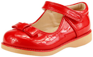 Girl's School Dress Classic Shoes  Mary Jane Glossy Black or Red Toddler size