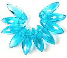 22x7mm Aqua Blue Glass Quartz Faceted Marquise Drop Beads (10)