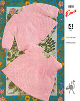 baby knitting pattern vintage baby  matinee jacket  and dress  4ply 17/  19 in