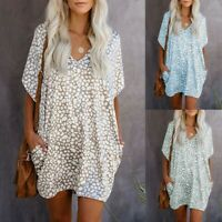 Womens Short Sleeve Pockets Daisy Loose Leopard Summer V Neck Beach Mini Dress