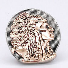 """Right Facing Chief Head Concho Antique Nickel w/Rose Gold 1-1/2"""" 3668-31"""