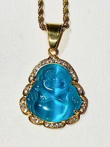Herren 14k Gold Lachen Vereist Jade Blau Buddha Glück Seil Halskette