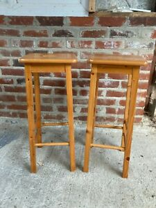 Solid Natural Pine Square Bar Stools x 2 Size 30x30cm x 71 cm high with Handles