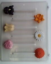 FLOWER ASSORTMENT LOLLIPOPS CLEAR PLASTIC CHOCOLATE CANDY MOLD AO127