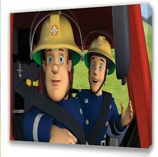 """Fireman Sam  Canvas 10""""x10""""  Framed Picture s1"""