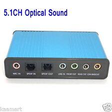 USB 6 Channel 5.1 Optical Audio External Sound Card SPDIF For PC Laptop Win7 Mac