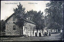 CANAAN CT ~ 1915 VACATION HOUSE CHAPEL ~ Lots of Women in Bonnets Entering