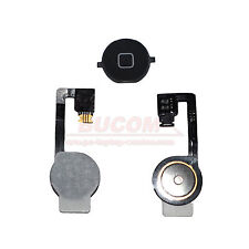 Para Iphone 4S Home Button Homebutton Tecla Botón con Cable Flexible Negro Mate