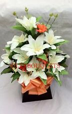 Artificial Silk Flower Lily Box Bouquet Arrangement Mothers Day Valentines Gift