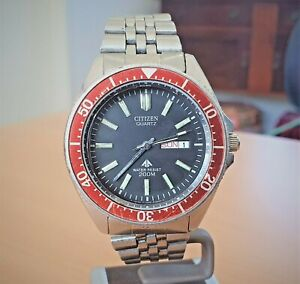 Vintage Citizen SS Promaster red bezel dive watch cal 5502